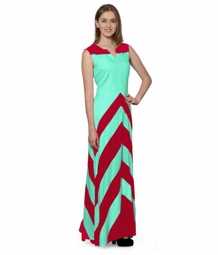 Color Block Empire Slim Fit Maxi Dress in Fuchsia:Teal Green