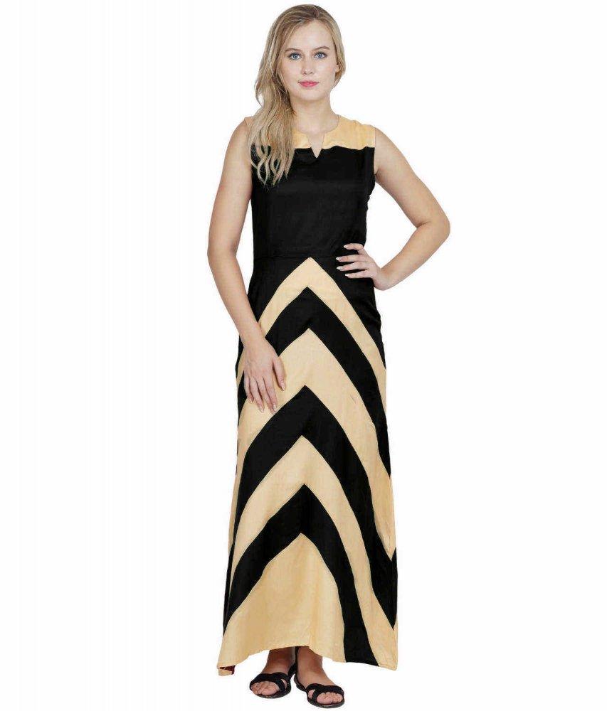 Color Block Empire Slim Fit Maxi Dress in Gold:Black