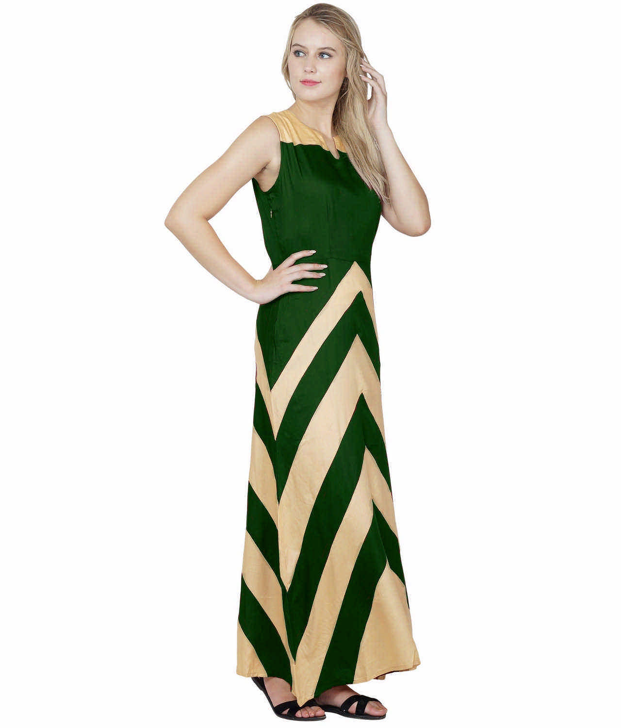 Color Block Empire Slim Fit Maxi Dress in Gold:Bottle Green