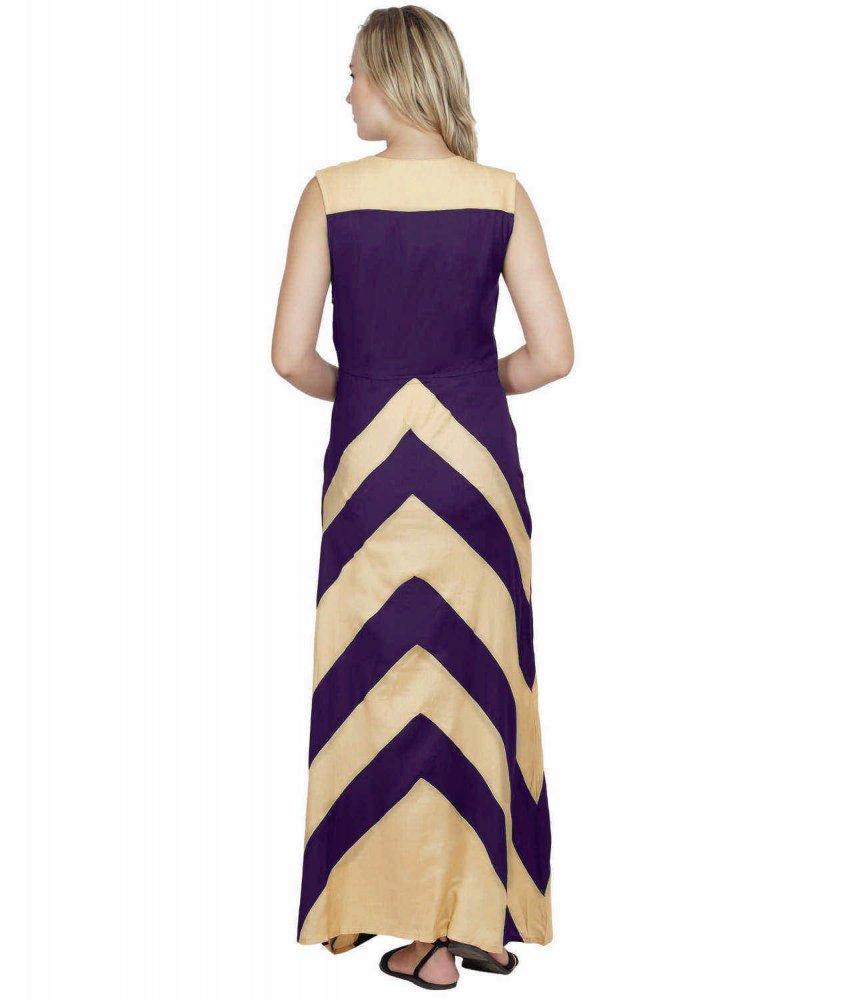 Color Block Empire Slim Fit Maxi Dress in Gold:Purple