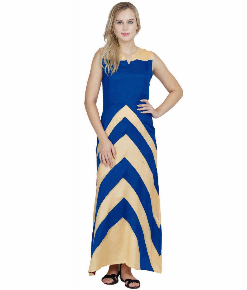 Color Block Empire Slim Fit Maxi Dress in Gold:Turquoise Blue