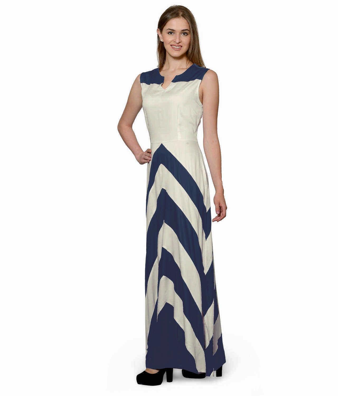 Color Block Empire Slim Fit Maxi Dress in Grey:Off-White