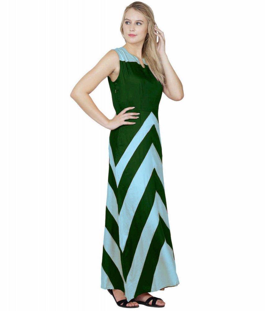 Color Block Empire Slim Fit Maxi Dress in Light Blue:Bottle Green