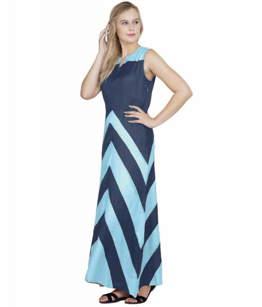 Color Block Empire Slim Fit Maxi Dress in Light Blue:Grey