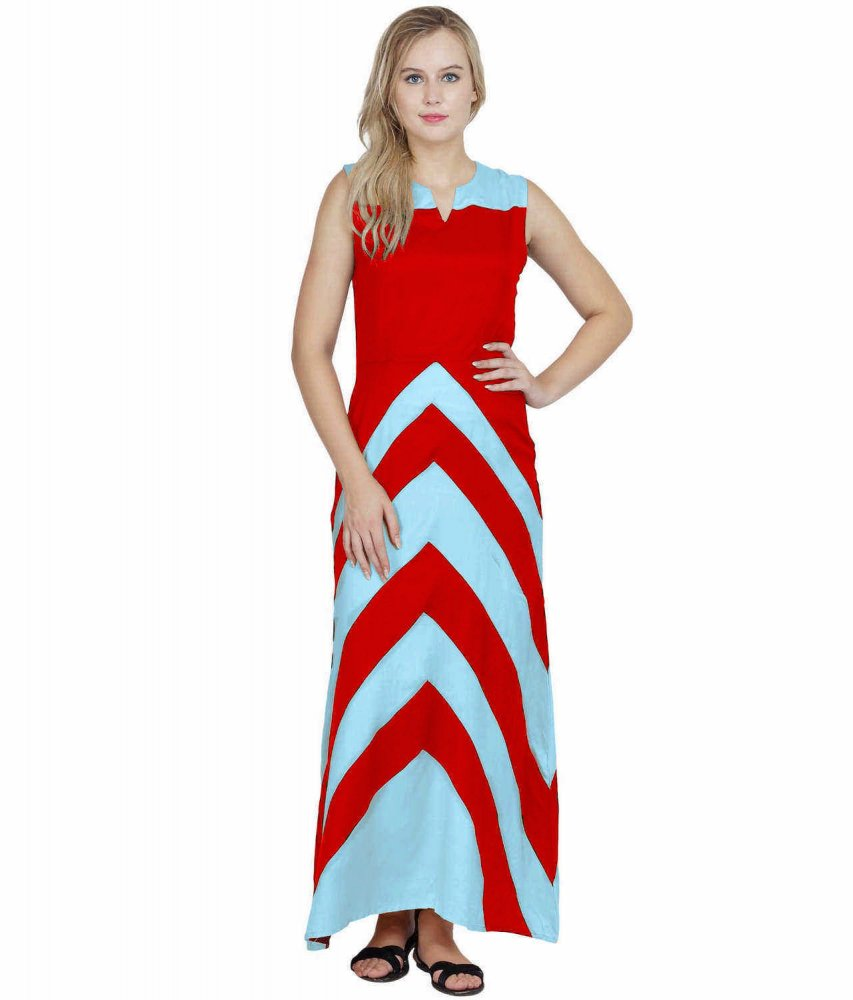 Color Block Empire Slim Fit Maxi Dress in Light Blue:Red