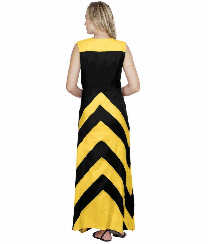 Color Block Empire Slim Fit Maxi Dress in Mustard:Black