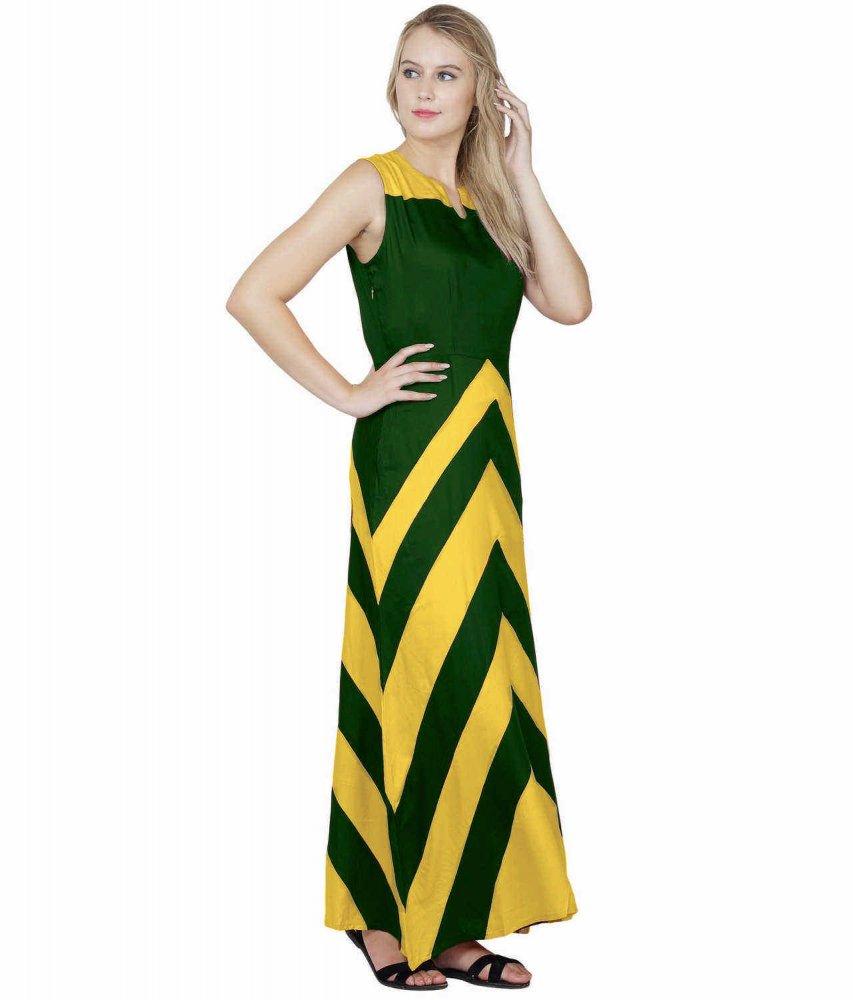 Color Block Empire Slim Fit Maxi Dress in Mustard:Bottle Green