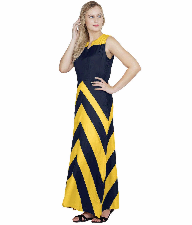 Color Block Empire Slim Fit Maxi Dress in Mustard:Dark Blue