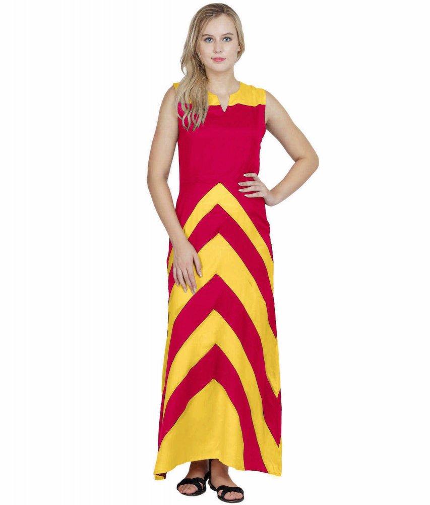 Color Block Empire Slim Fit Maxi Dress in Mustard:Fuchsia