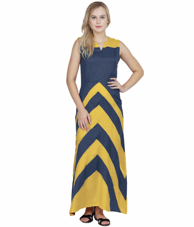 Color Block Empire Slim Fit Maxi Dress in Mustard:Grey