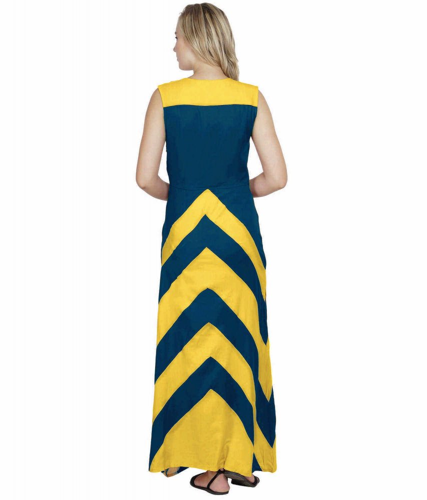 Color Block Empire Slim Fit Maxi Dress in Mustard:Sky Blue