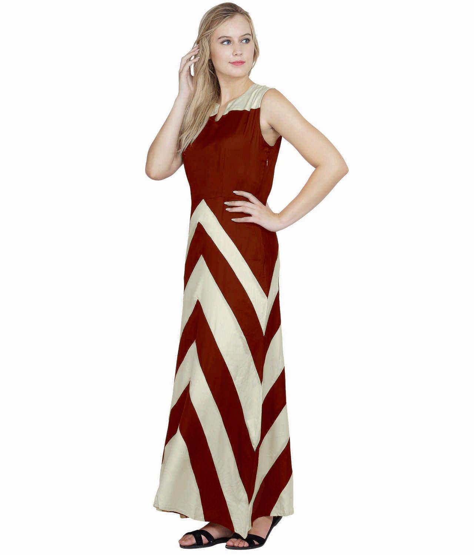 Color Block Empire Slim Fit Maxi Dress in Off-White:Maroon