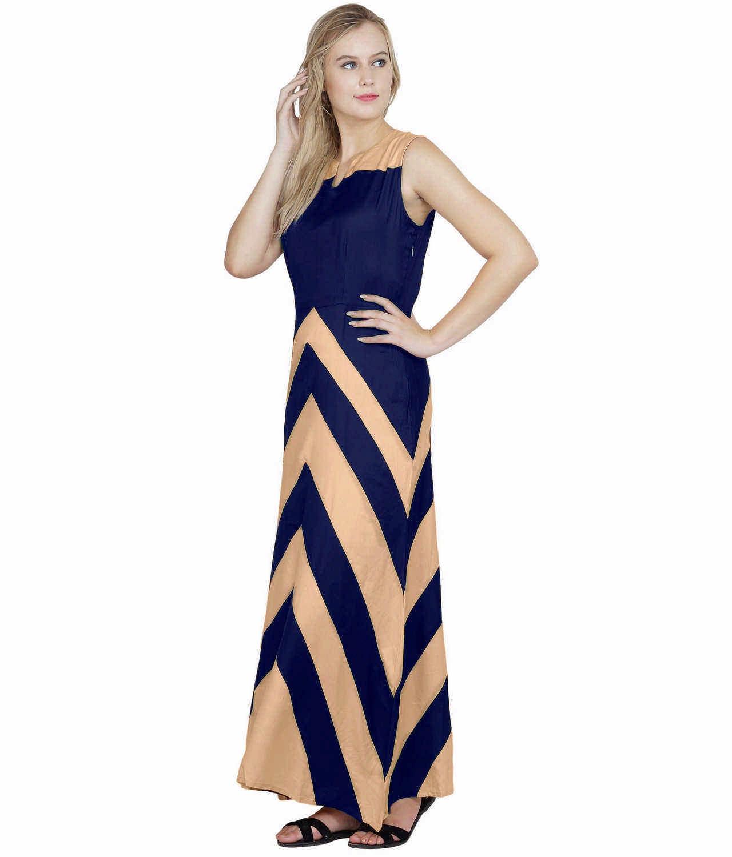 Color Block Empire Slim Fit Maxi Dress in Peach:Royal Blue