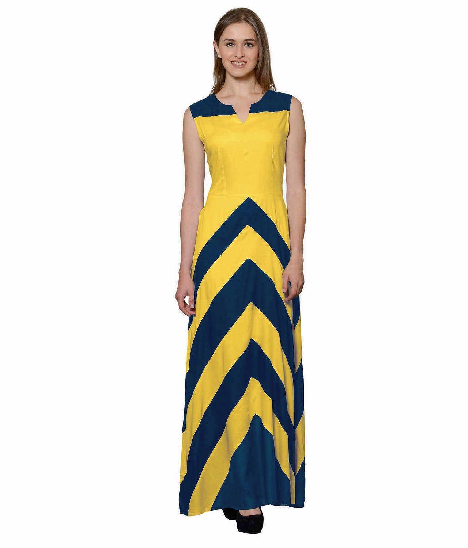 Color Block Empire Slim Fit Maxi Dress in Sky Blue:Mustard