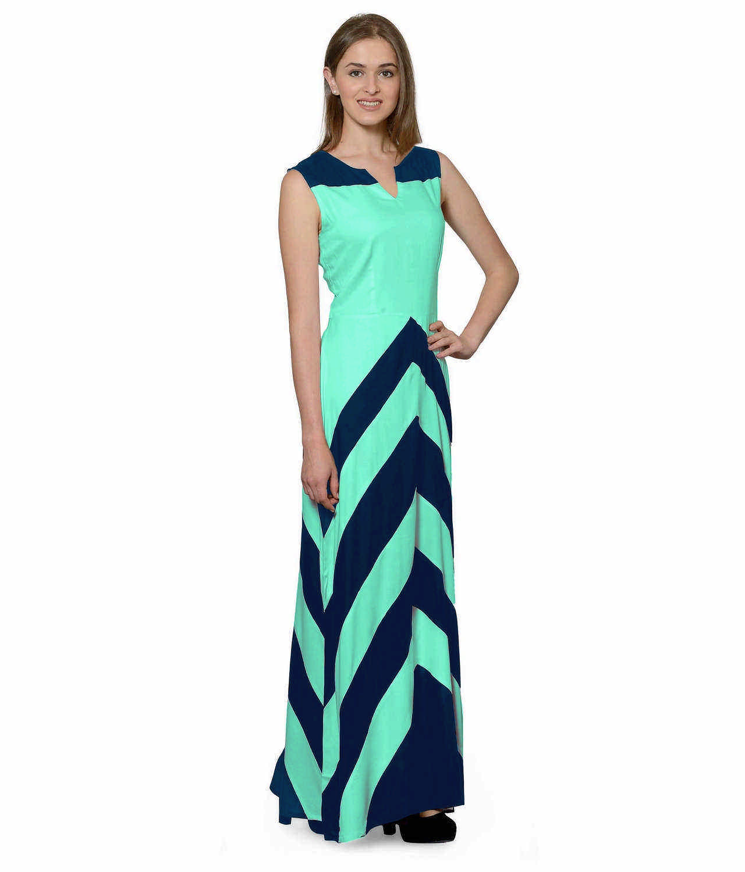Color Block Empire Slim Fit Maxi Dress in Sky Blue:Teal Green