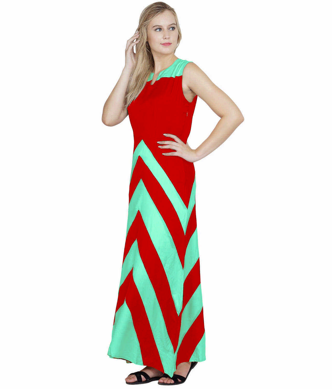 Color Block Empire Slim Fit Maxi Dress in Teal Green:Red