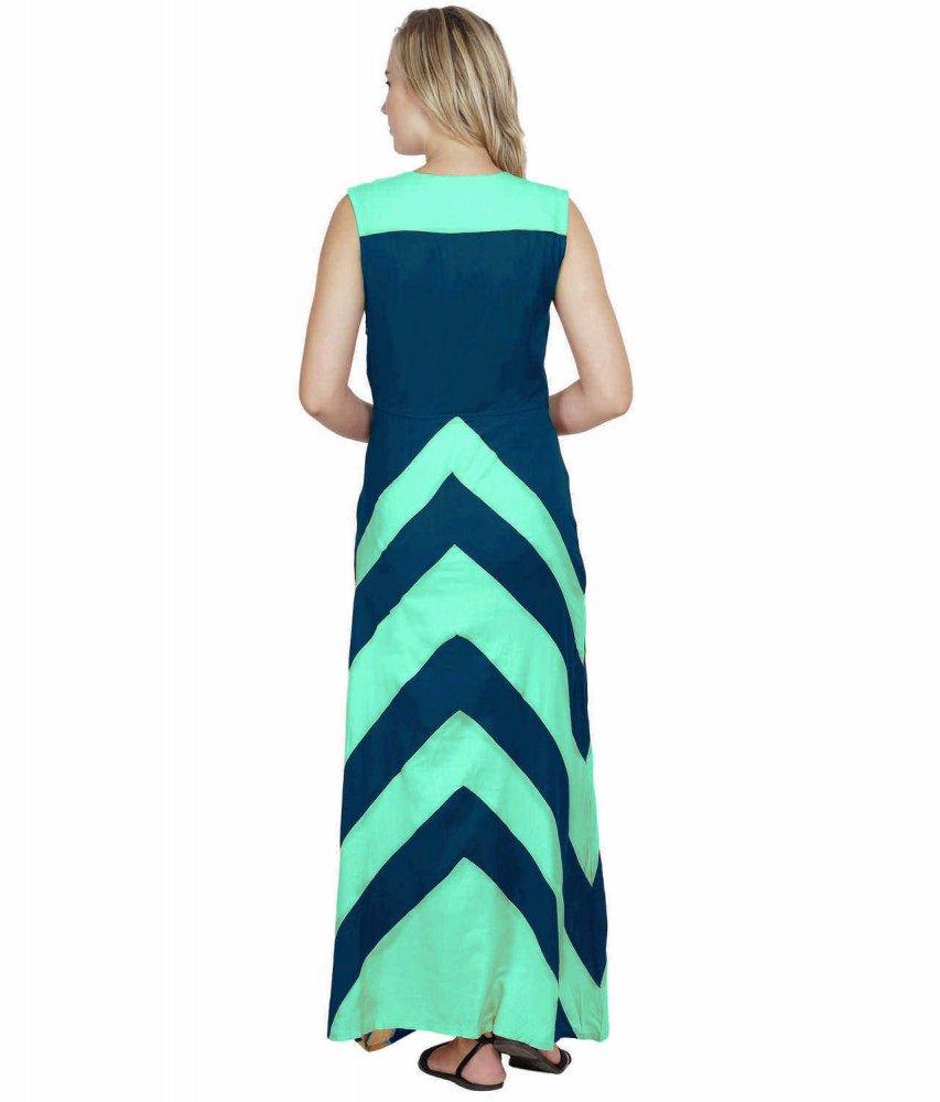 Color Block Empire Slim Fit Maxi Dress in Teal Green:Sky Blue