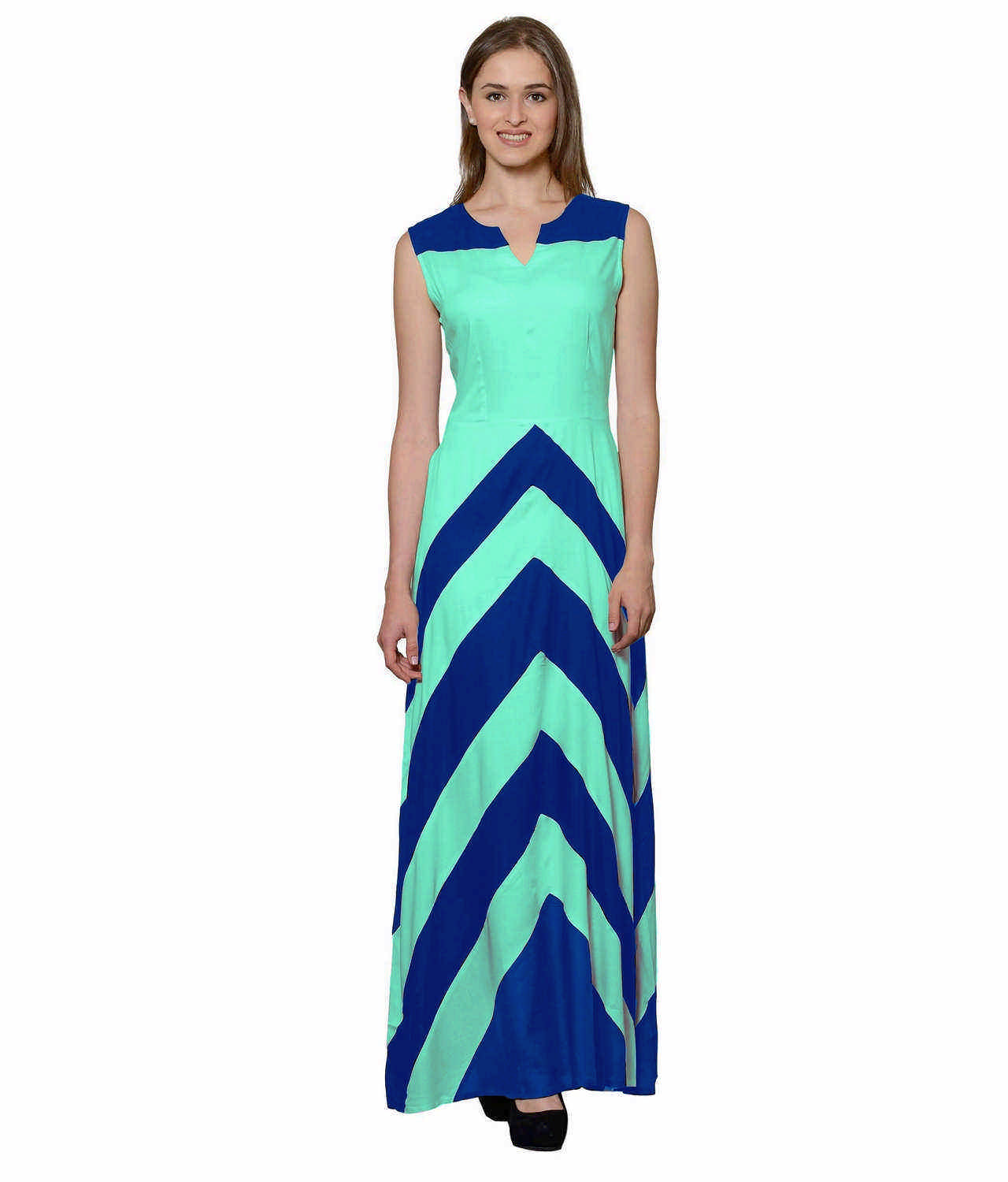 Color Block Empire Slim Fit Maxi Dress in Turquoise Blue:Teal Green
