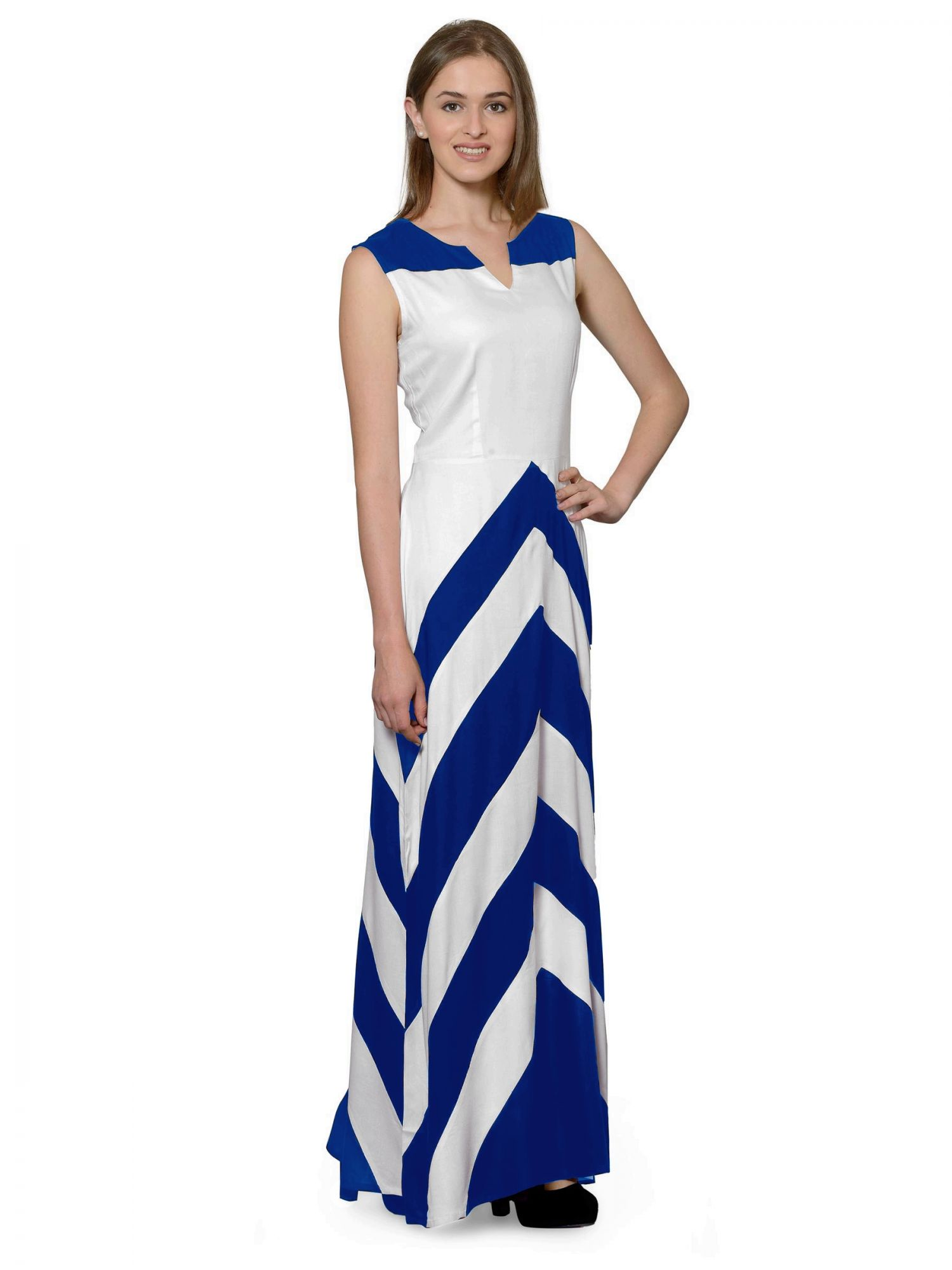 Color Block Empire Slim Fit Maxi Dress in Turquoise Blue:White