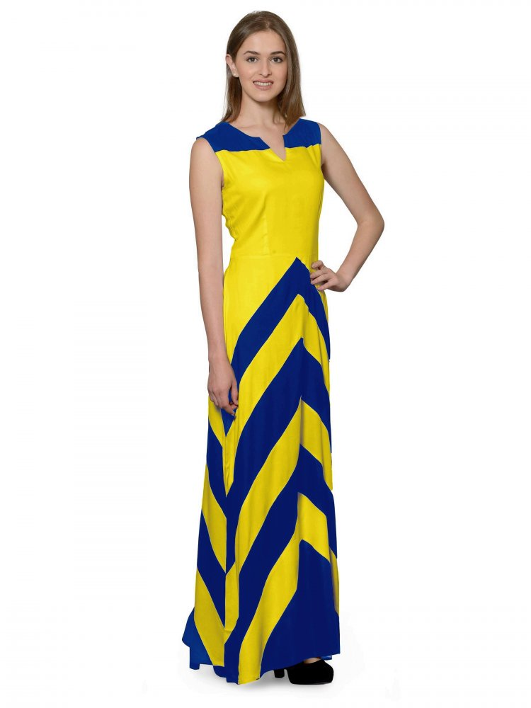 Color Block Empire Slim Fit Maxi Dress in Turquoise Blue:Yellow