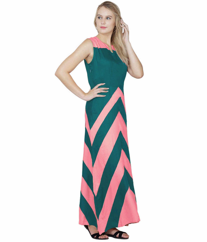 Color Block Empire Slim Fit Maxi Dress in Vinyl Pink:Rama Green