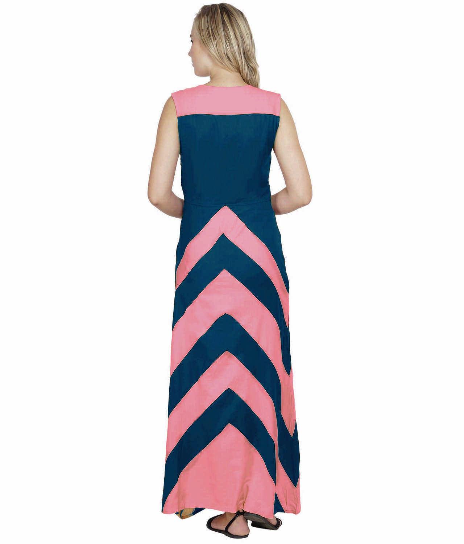 Color Block Empire Slim Fit Maxi Dress in Vinyl Pink:Sky Blue