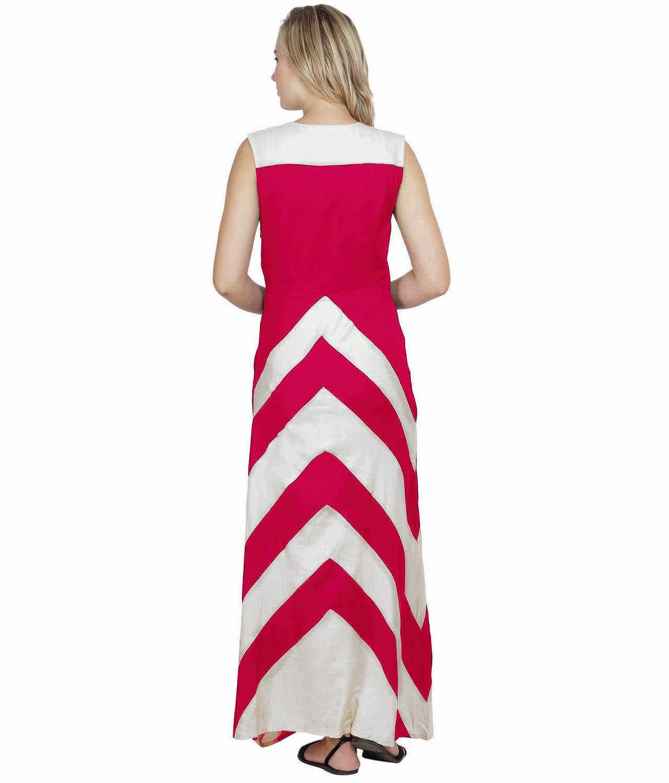 Color Block Empire Slim Fit Maxi Dress in White:Fuchsia