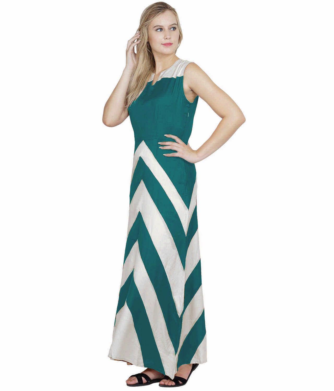 Color Block Empire Slim Fit Maxi Dress in White:Rama Green
