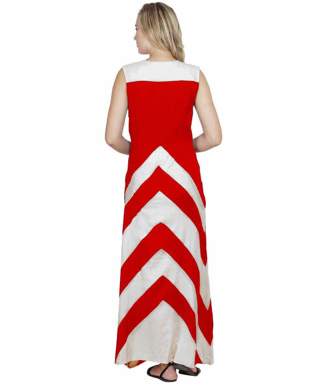 Color Block Empire Slim Fit Maxi Dress in White:Red