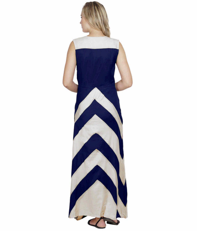 Color Block Empire Slim Fit Maxi Dress in White:Royal Blue