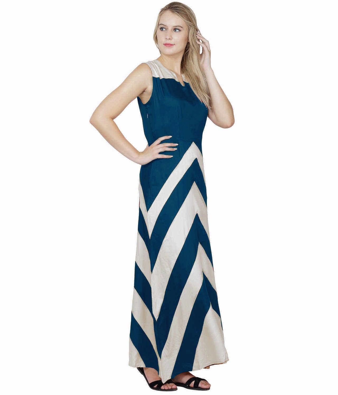 Color Block Empire Slim Fit Maxi Dress in White:Sky Blue