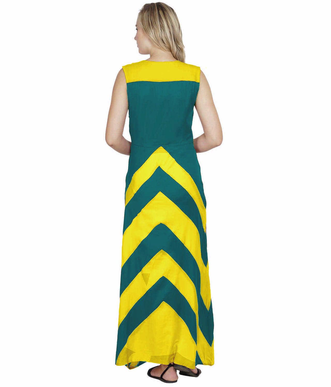 Color Block Empire Slim Fit Maxi Dress in Yellow:Rama Green