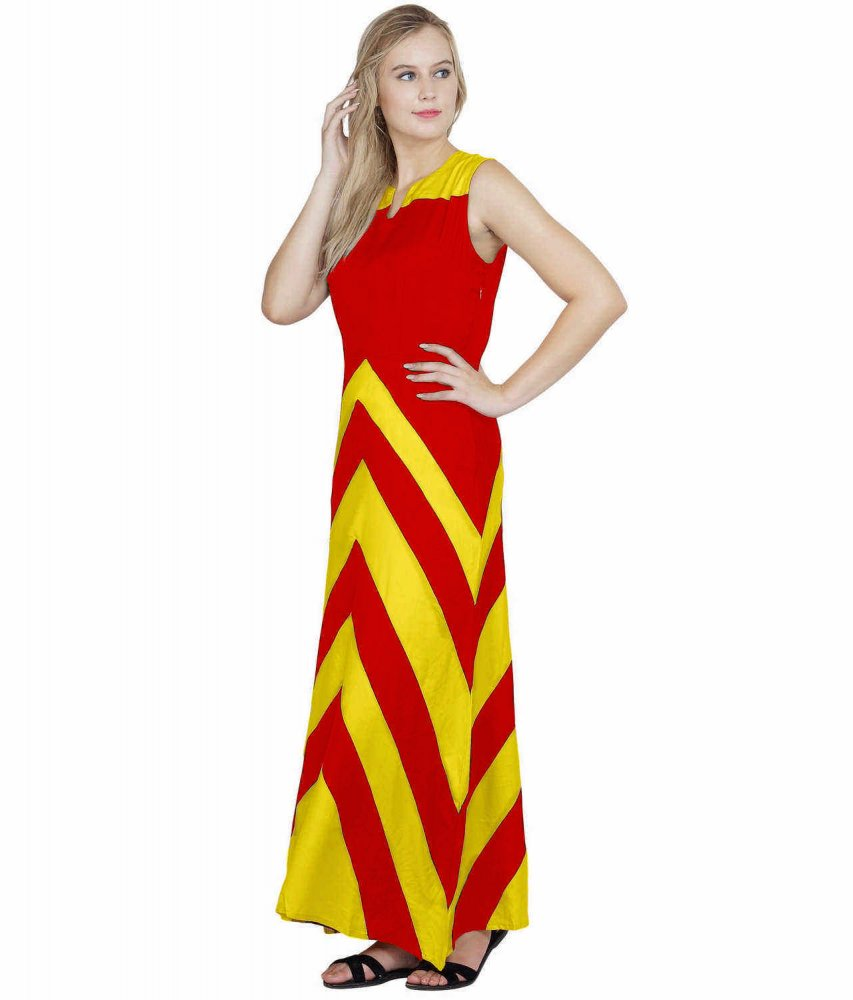 Color Block Empire Slim Fit Maxi Dress in Yellow:Red