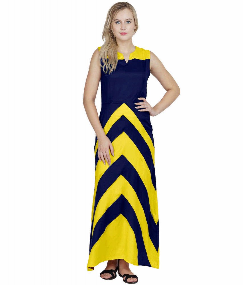 Color Block Empire Slim Fit Maxi Dress in Yellow:Royal Blue