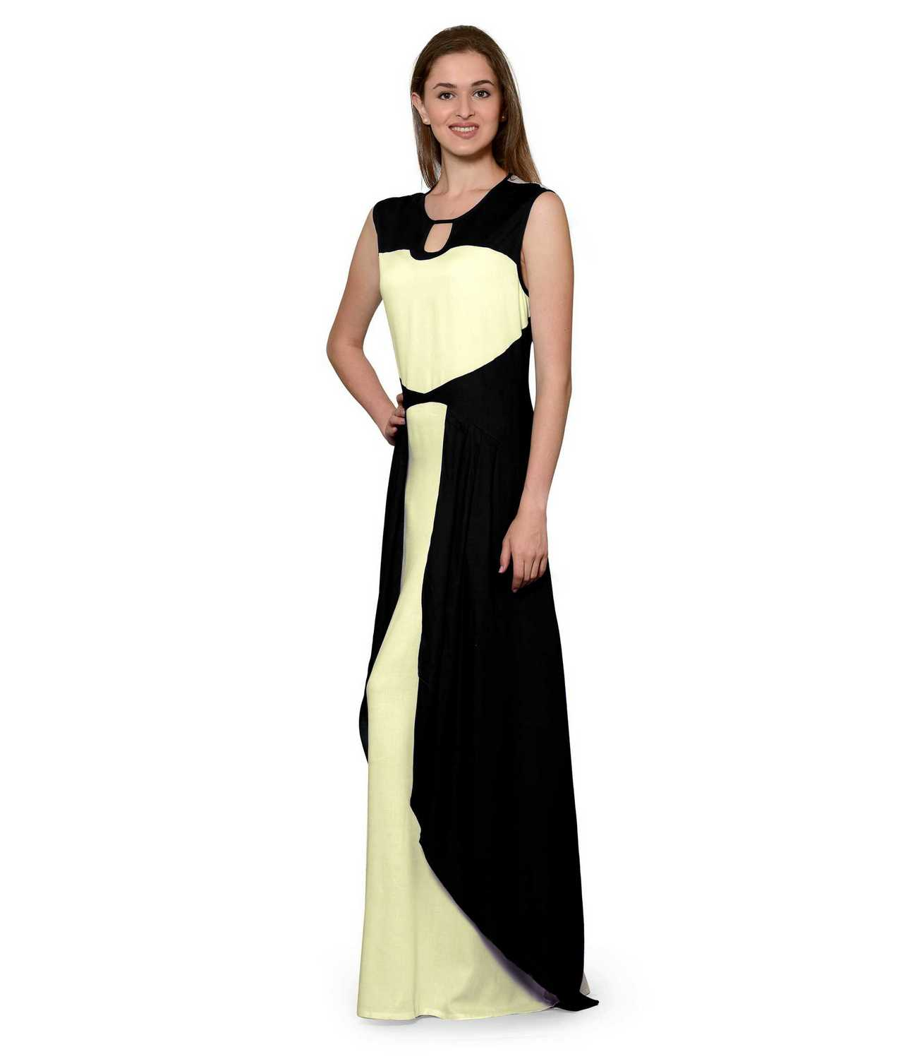Color Block Maxi Dress or Gown  in Black:Cream