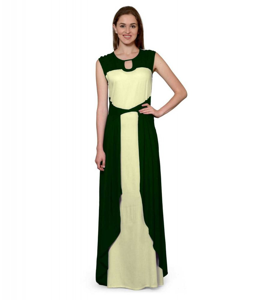 Color Block Maxi Dress or Gown  in Bottle Green:Cream