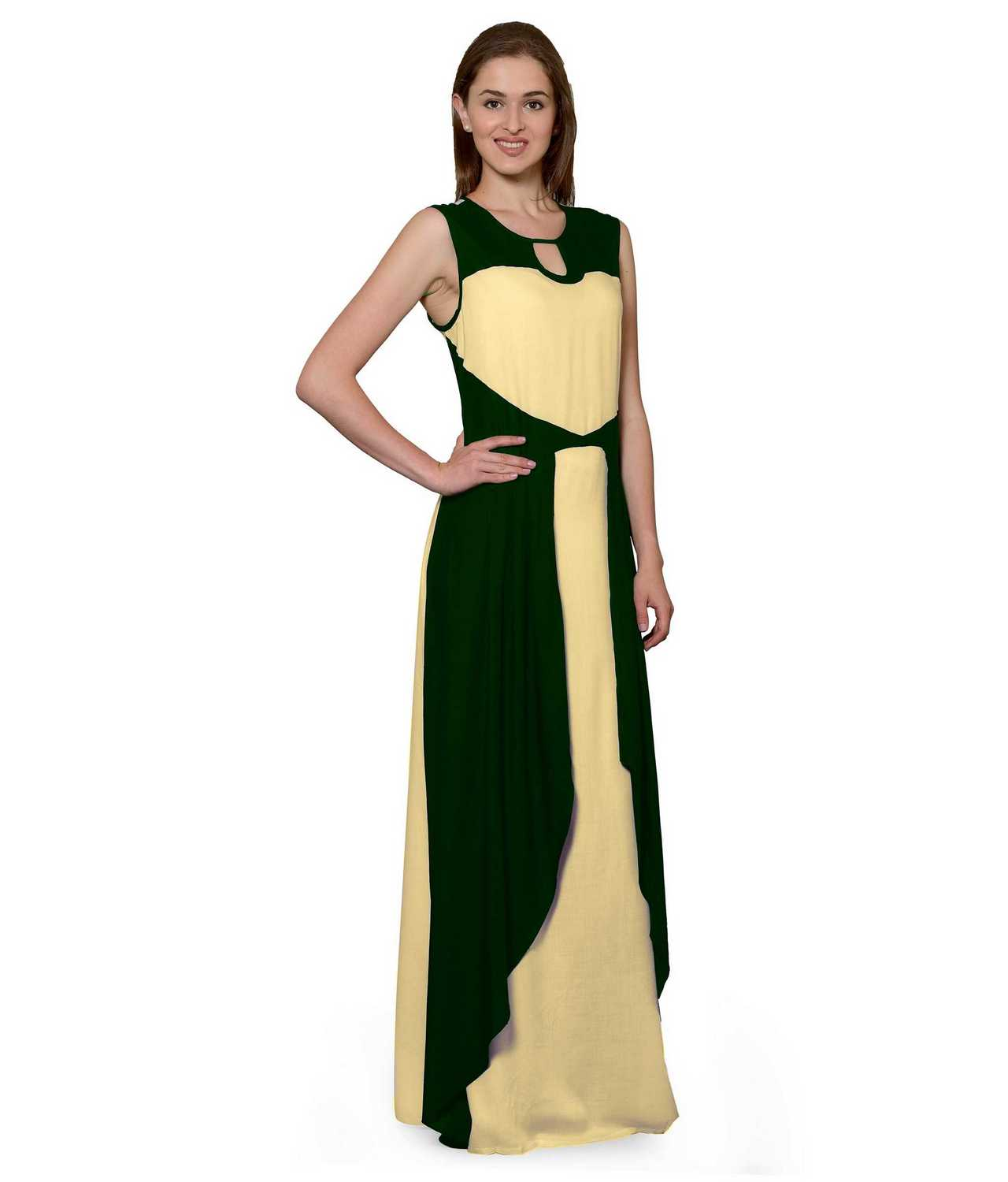 Color Block Maxi Dress or Gown  in Bottle Green:Gold