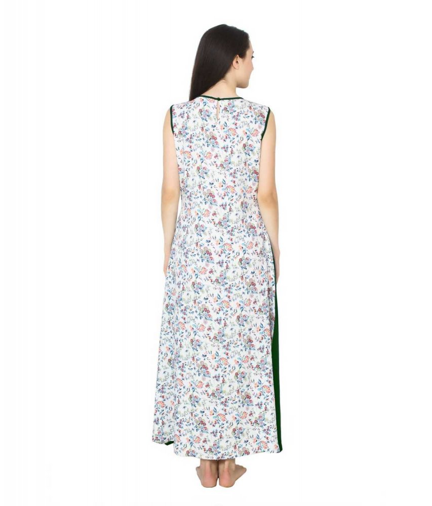 Color Block Maxi Dress or Gown  in Bottle Green:Multicolour Print