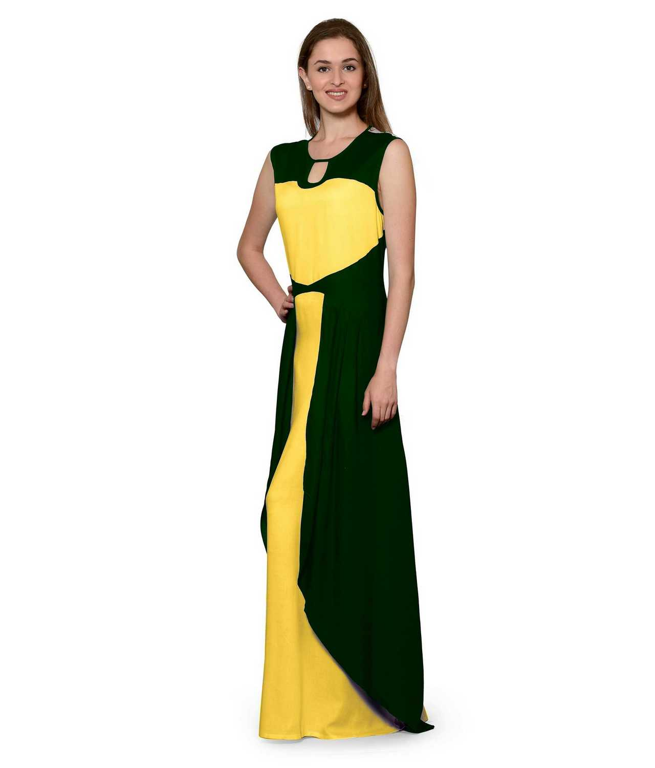 Color Block Maxi Dress or Gown  in Bottle Green:Mustard