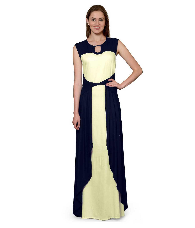 Color Block Maxi Dress or Gown  in Dark Blue:Cream
