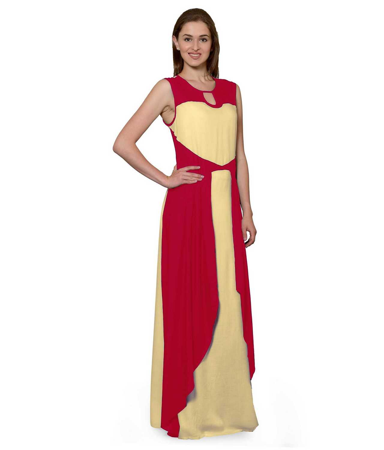 Color Block Maxi Dress or Gown  in Fuchsia:Gold