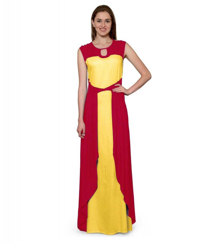 Color Block Maxi Dress or Gown  in Fuchsia:Mustard