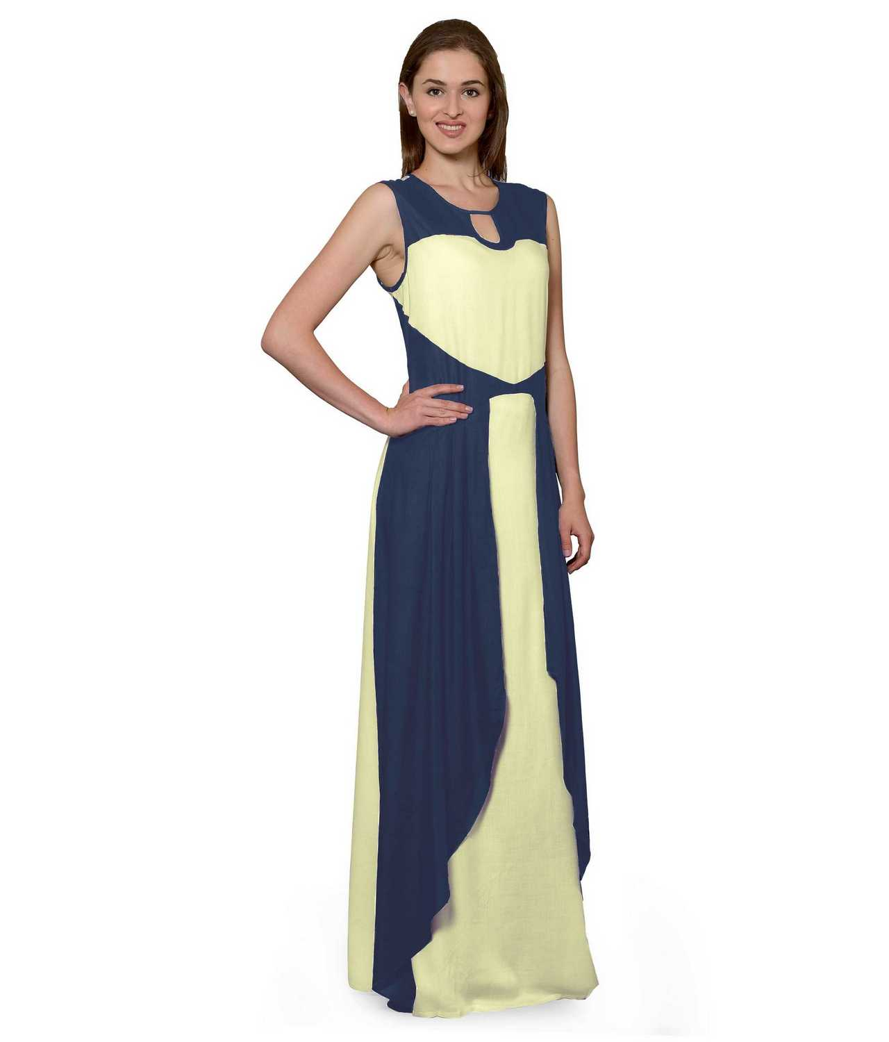 Color Block Maxi Dress or Gown  in Grey:Cream
