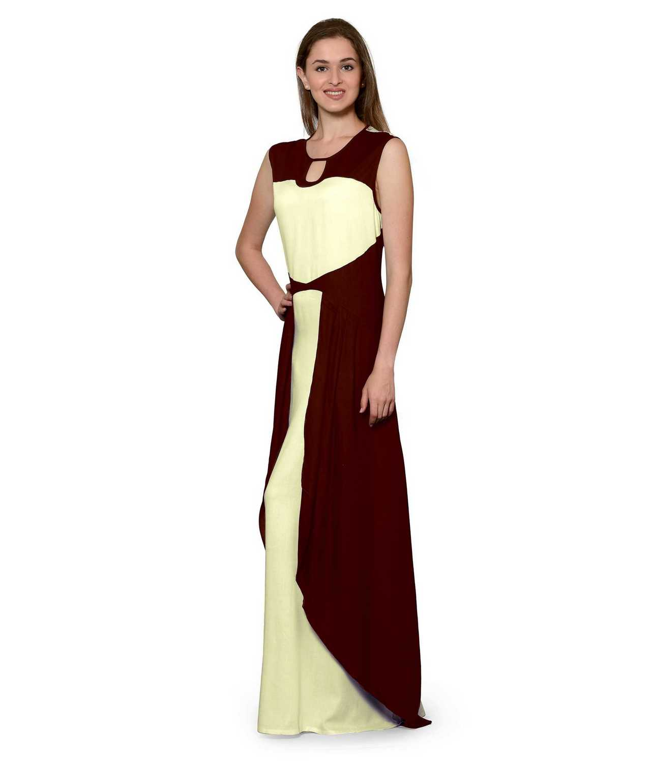 Color Block Maxi Dress or Gown  in Maroon:Cream