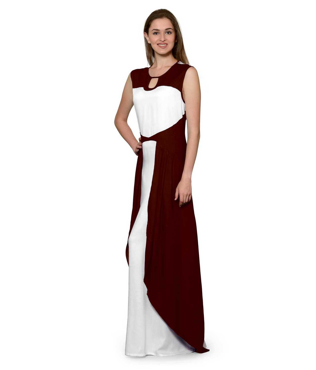 Color Block Maxi Dress or Gown  in Maroon:White