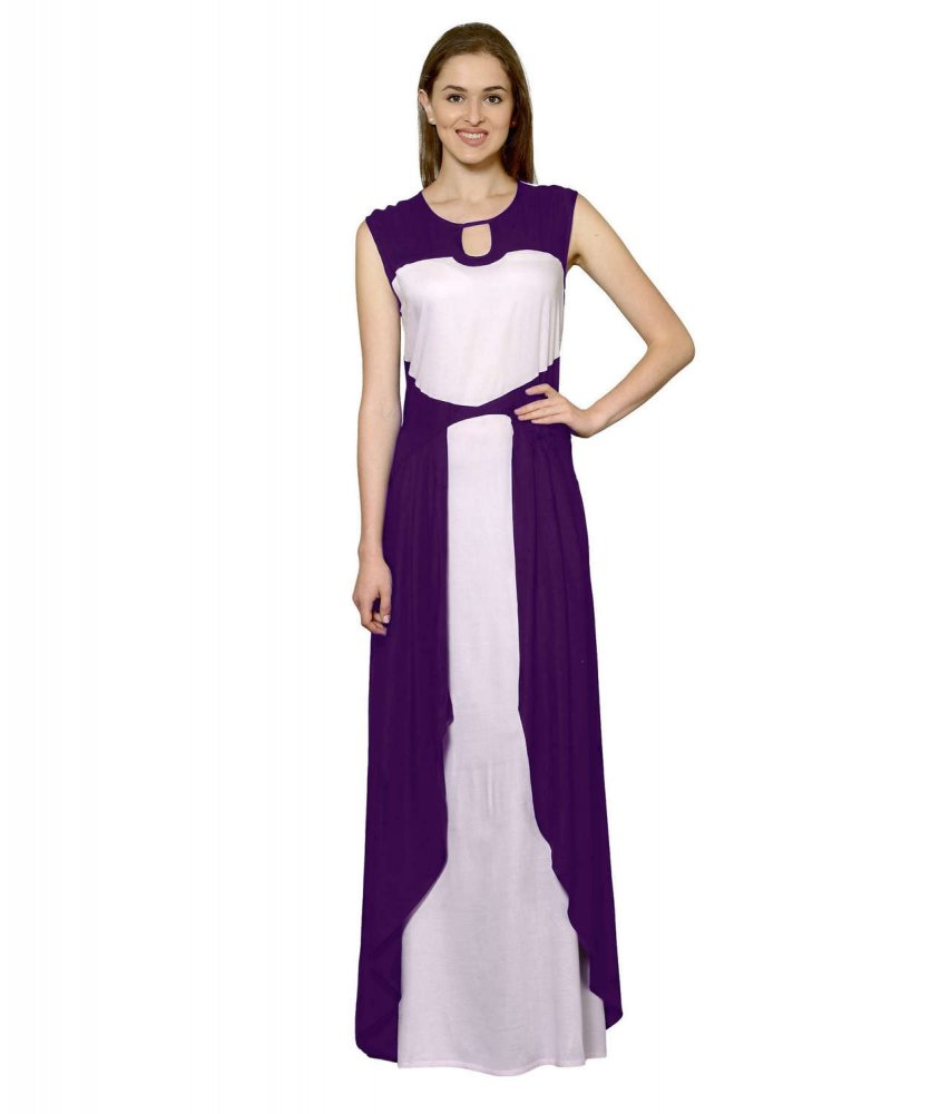 Color Block Maxi Dress or Gown  in Purple:Baby Pink