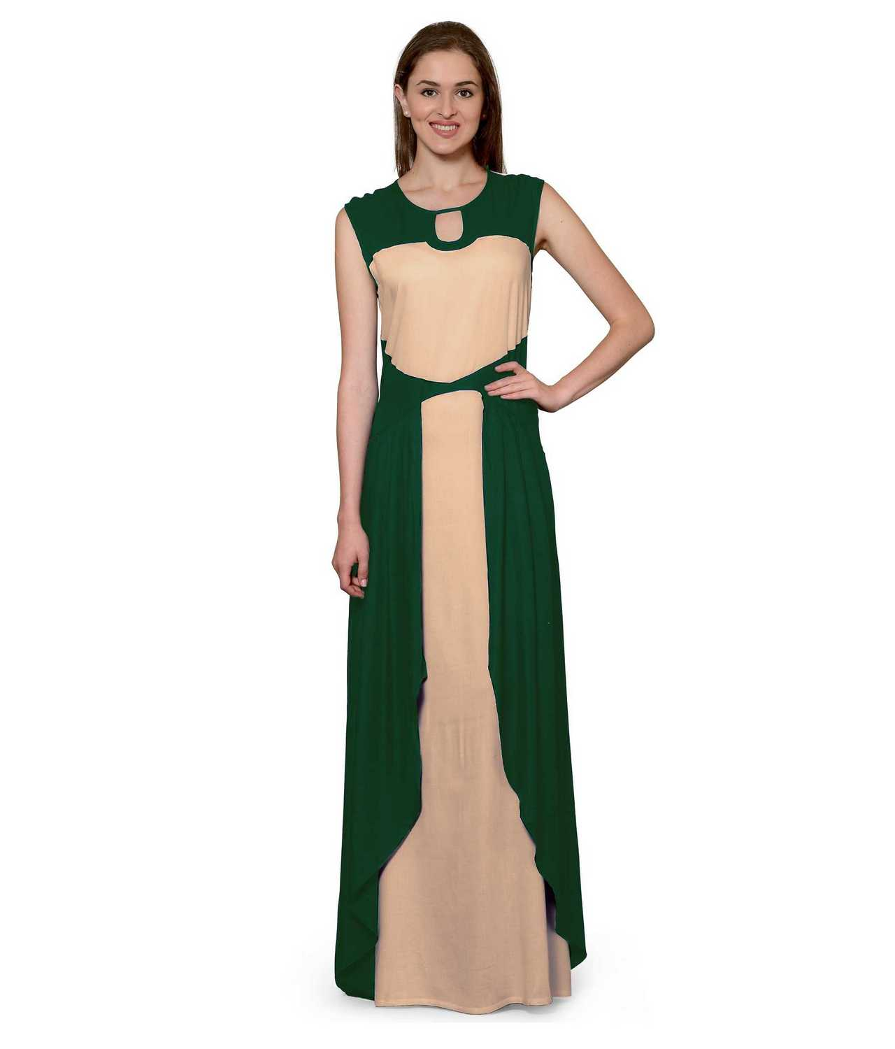 Color Block Maxi Dress or Gown  in Rama Green:Peach