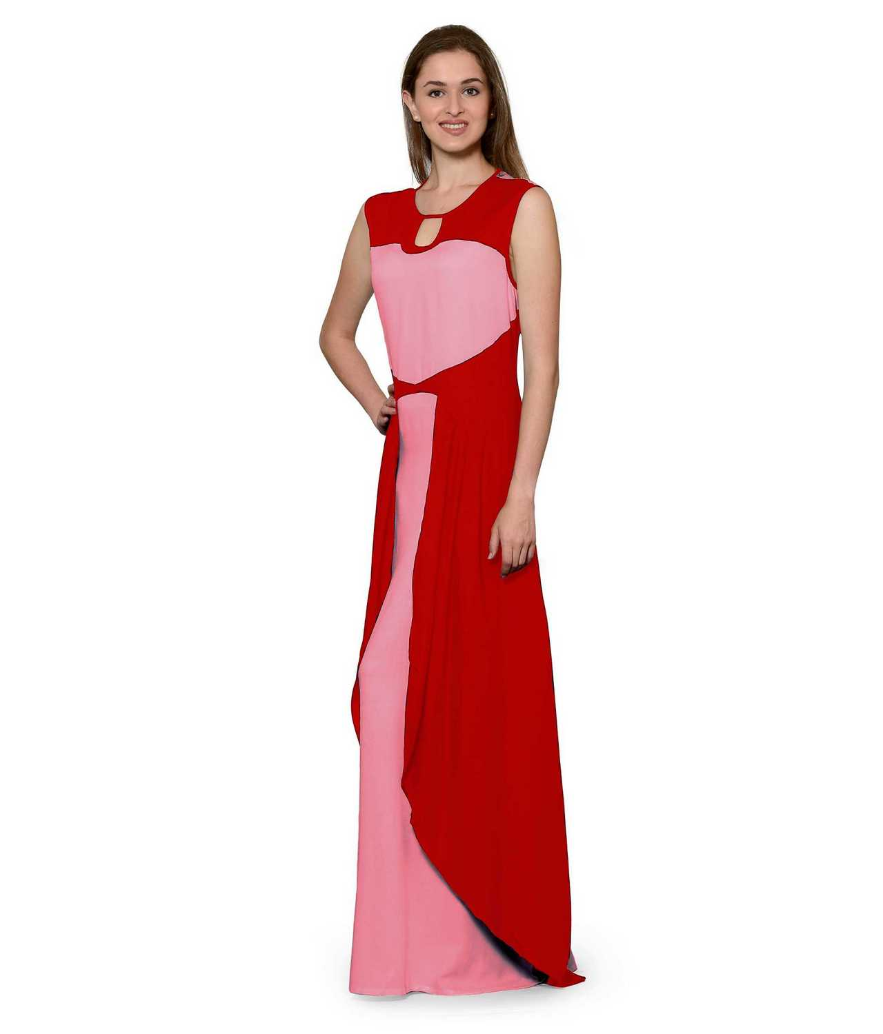 Color Block Maxi Dress or Gown  in Red:Vinyl Hot Pink