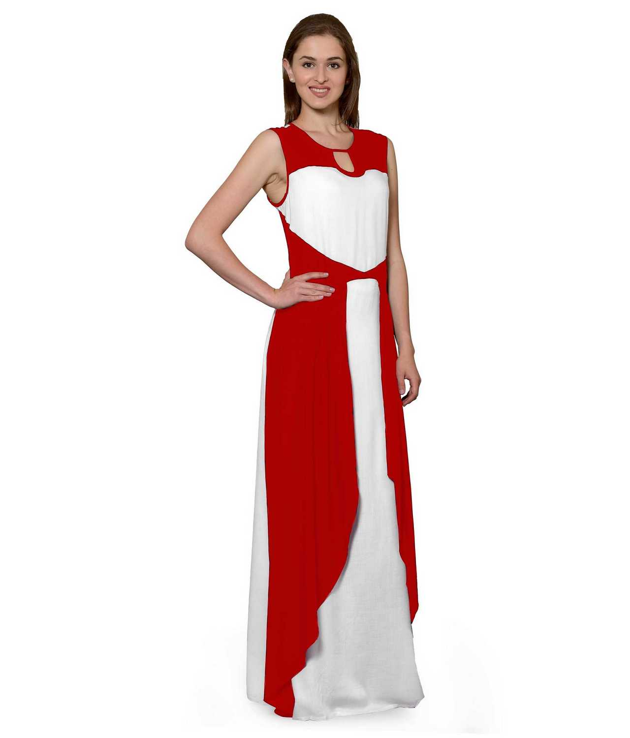 Color Block Maxi Dress or Gown  in Red:White