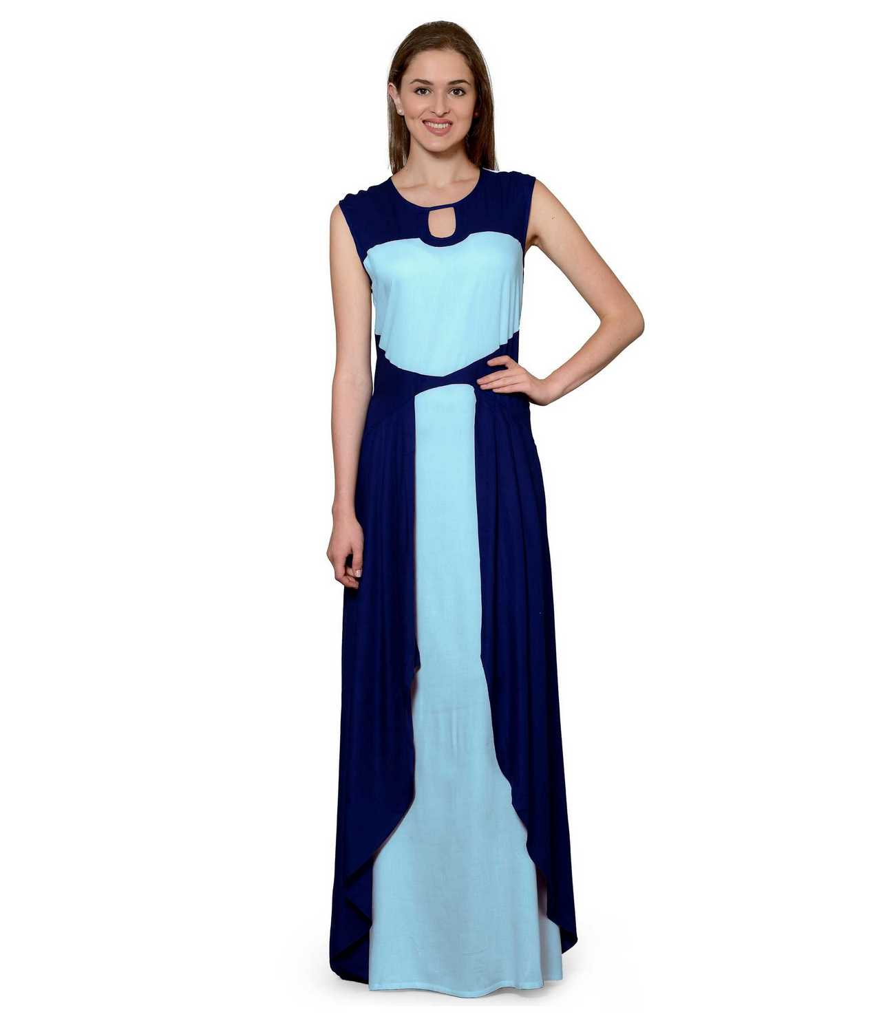 Color Block Maxi Dress or Gown  in Royal Blue:Light Blue